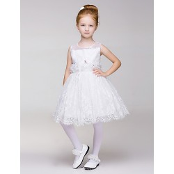 Flower Girl Dress Knee Length A Line Sleeveless Dress