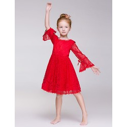 A-line Knee-length Flower Girl Dress - Lace/Polyester Long Sleeve