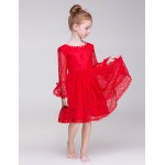 A-line Knee-length Flower Girl Dress - Lace/Polyester Long Sleeve Flower Girl Dresses