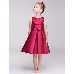A Line Knee Length Flower Girl Dress Polyester Sleeveless