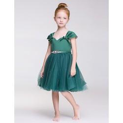 A-line Knee-length Flower Girl Dress - Tulle/Polyester Sleeveless