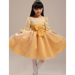 Ball Gown Knee-length Flower Girl Dress - Organza/Satin 3/4 Length Sleeve