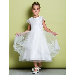 A-line Tea-length Flower Girl Dress - Lace Short Sleeve