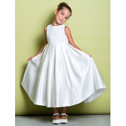 A-line Ankle-length Flower Girl Dress - Lace / Satin Sleeveless