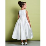 A-line Ankle-length Flower Girl Dress - Lace / Satin Sleeveless Flower Girl Dresses
