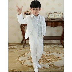 White Uniform Cloth Ring Bearer Suit - 6 Pieces