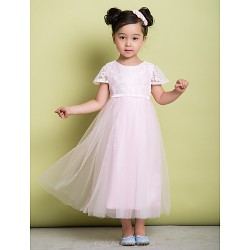 A Line Ankle Length Flower Girl Dress Lace Tulle Short Sleeve