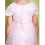 A-line Ankle-length Flower Girl Dress - Lace/Tulle Short Sleeve Flower Girl Dresses
