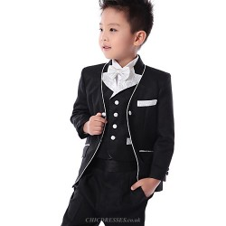 Black / White Polester/Cotton Blend Ring Bearer Suit - 5 Pieces