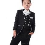Black / White Polester/Cotton Blend Ring Bearer Suit - 5 Pieces Flower Girl Dresses