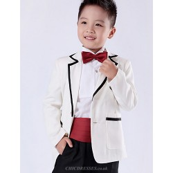 Black Red White Polester Cotton Blend Ring Bearer Suit 5 Pieces