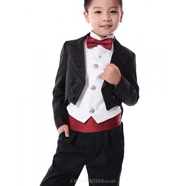 Black / Red Polester/Cotton Blend Ring Bearer Suit - 5 Pieces Flower Girl Dresses