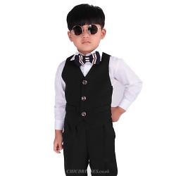 Black Polester Cotton Blend Ring Bearer Suit 5 Pieces