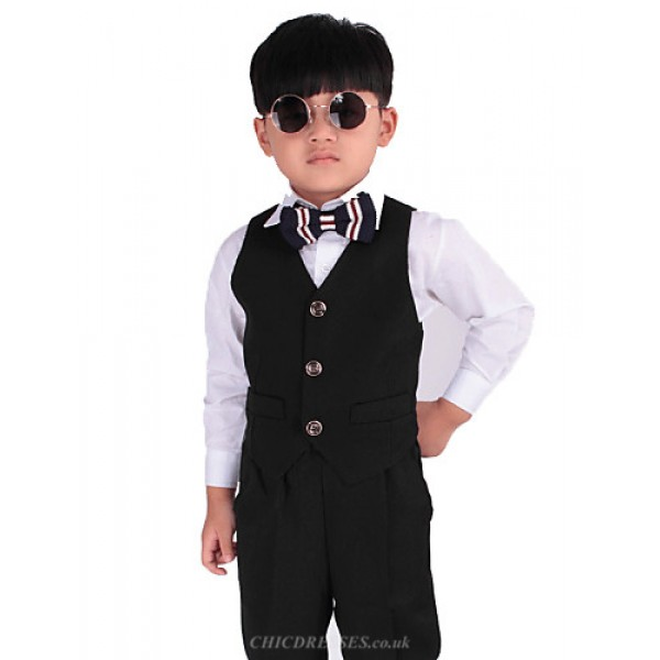 Black Polester/Cotton Blend Ring Bearer Suit - 5 Pieces Flower Girl Dresses