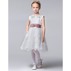 A Line Knee Length Flower Girl Dress Cotton Sleeveless