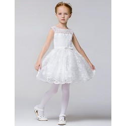 A-line Knee-length Flower Girl Dress - Lace / Polyester Sleeveless