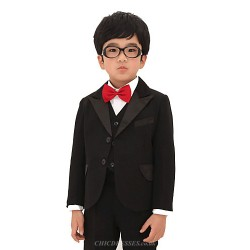 Black / Red Polester/Cotton Blend Ring Bearer Suit - 5 Pieces