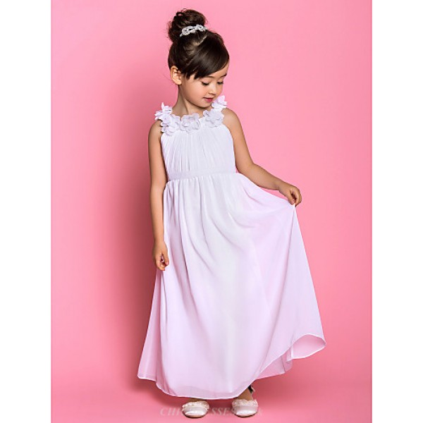 A-line Ankle-length Flower Girl Dress - Chiffon Sleeveless Flower Girl Dresses