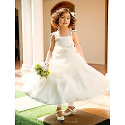 A Line Princess Knee Length Flower Girl Dress Organza Sleeveless