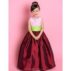 A Line Princess Floor Length Flower Girl Dress Taffeta Sleeveless
