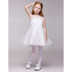 Flower Girl Dress Knee Length Lace Tulle A Line Sleeveless Dress