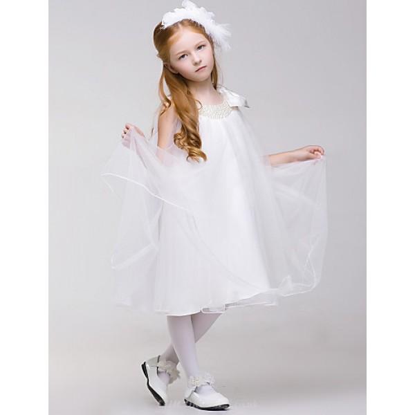 Princess Knee-length Flower Girl Dress - Tulle/Polyester Sleeveless Flower Girl Dresses