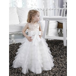 A Line Princess Floor Length Flower Girl Dress Satin Tulle Sleeveless