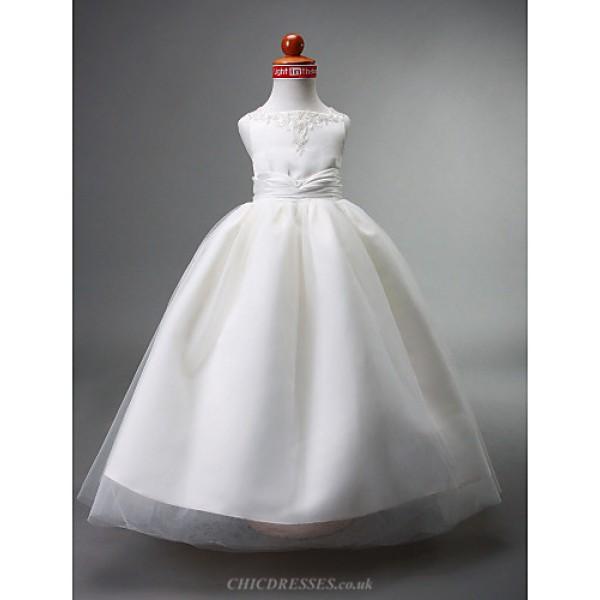 Ball Gown Floor-length Flower Girl Dress - Satin/Tulle Sleeveless Flower Girl Dresses