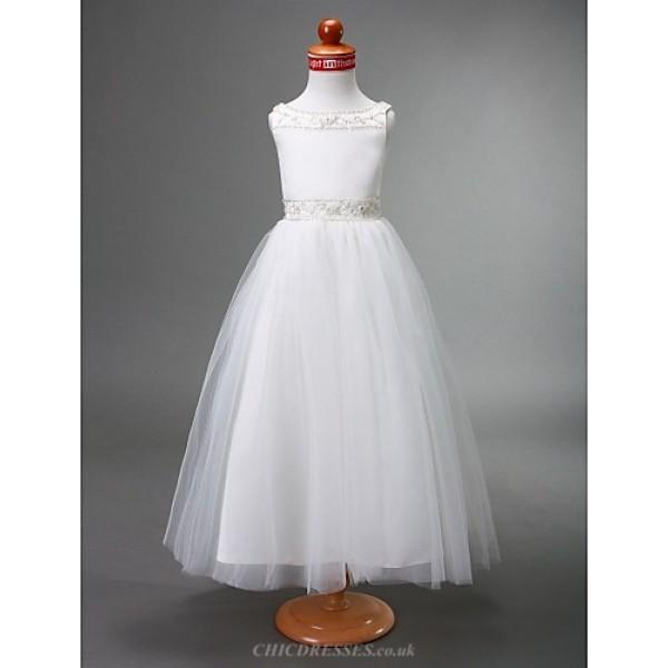 A-line/Princess Floor-length Flower Girl Dress - Satin/Tulle Sleeveless Flower Girl Dresses