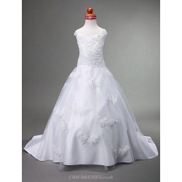 A-line/Princess/Ball Gown Court Train Flower Girl Dress - Satin/Tulle Sleeveless Flower Girl Dresses