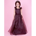 A-line/Princess Floor-length Flower Girl Dress - Satin/Organza Sleeveless Flower Girl Dresses