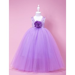 A Line Princess Ball Gown Floor Length Flower Girl Dress Satin Tulle Sleeveless