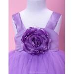 A-line/Princess/Ball Gown Floor-length Flower Girl Dress - Satin/Tulle Sleeveless Flower Girl Dresses