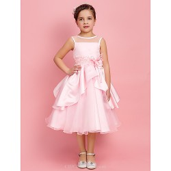 Ball Gown A Line Princess Tea Length Flower Girl Dress Satin Organza Sleeveless
