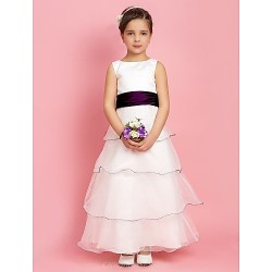 A-line/Princess Floor-length Flower Girl Dress - Stretch Satin/Organza Sleeveless