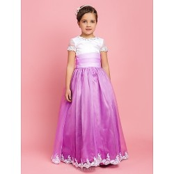A Line Princess Floor Length Flower Girl Dress Organza Short Sleeve