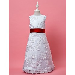 A-line/Princess Knee-length Flower Girl Dress - Lace/Satin Sleeveless