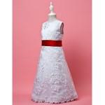A-line/Princess Knee-length Flower Girl Dress - Lace/Satin Sleeveless Flower Girl Dresses