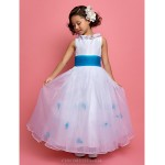 A-line/Princess Ankle-length Flower Girl Dress - Organza/Taffeta Sleeveless Flower Girl Dresses