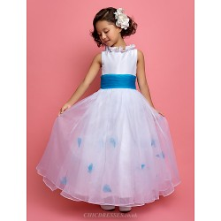 A Line Princess Ankle Length Flower Girl Dress Organza Taffeta Sleeveless