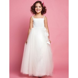A Line Princess Floor Length Flower Girl Dress Tulle Satin Sleeveless