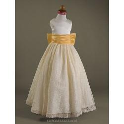 A-line/Princess Floor-length Flower Girl Dress - Satin/Lace Sleeveless