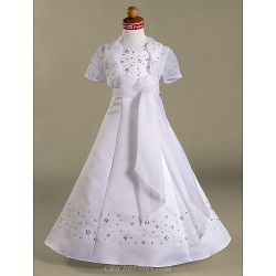 A-line/Princess Floor-length Flower Girl Dress - Satin/Organza Short Sleeve