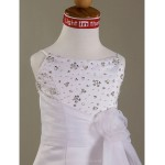 A-line/Princess Floor-length Flower Girl Dress - Satin/Organza Short Sleeve Flower Girl Dresses