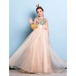 Floor Length Organza Sequined Junior Bridesmaid Dress Champagne A Line Jewel