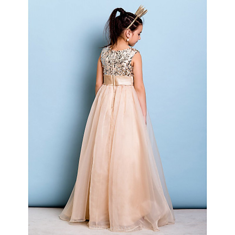 Floor Length Organza Sequined Junior Bridesmaid Dress