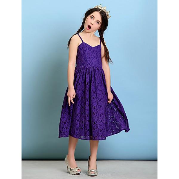 Tea-length Lace Junior Bridesmaid Dress - Regency A-line / Princess Spaghetti Straps Junior Bridesmaid Dresses
