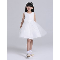 A-line Knee-length Flower Girl Dress - Satin/Tulle Sleeveless