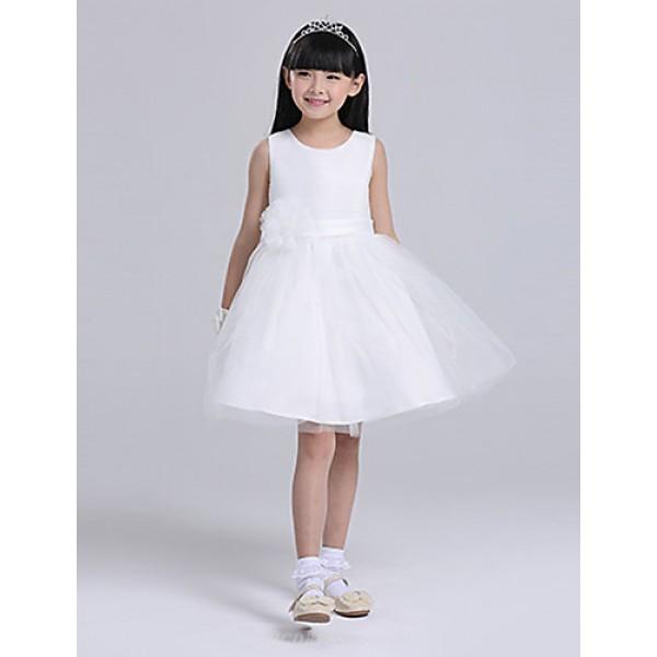 A-line Knee-length Flower Girl Dress - Satin/Tulle Sleeveless Flower Girl Dresses