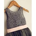 A-line Knee-length Flower Girl Dress - Tulle / Lace Flower Girl Dresses